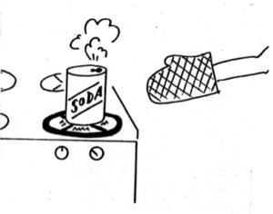 Drawing of soda can on top of stove heating up