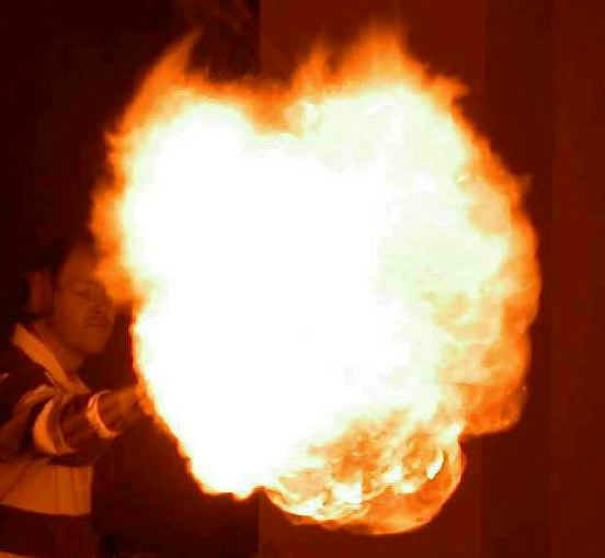 Exploding hydrogen balloon creating a fireball.