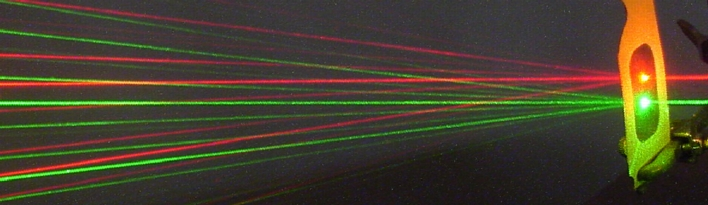 A red and green laser through a diffraction grating